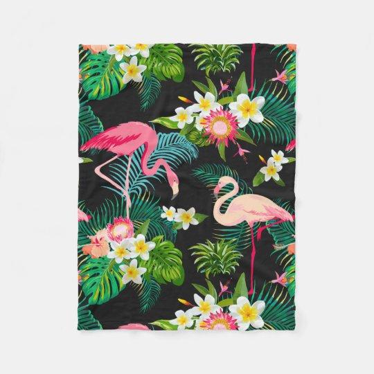 Elegant Tropical Pink Flamingos Floral Fleece Blanket