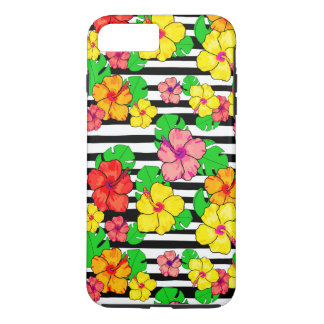 Elegant tropical stripe iPhone case hibiscus