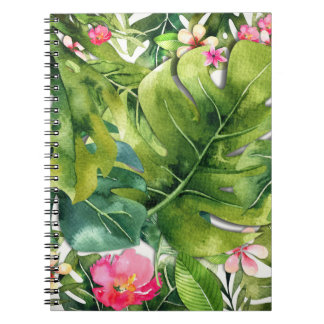 Elegant Tropics Green Leaves Floral Watercolor Spiral Notebook
