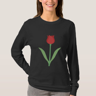 Elegant Tulip Design on Black. T-Shirt