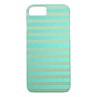 Elegant Turquoise and Gold Shimmer Stripes iPhone 8/7 Case