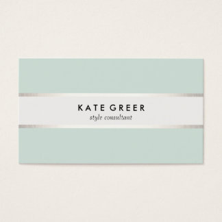 Elegant Turquoise and Silver Striped Professional Business Card