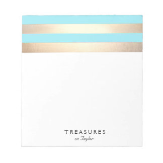 Elegant Turquoise Blue and Gold Stripes Notepad