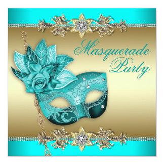 Elegant Turquoise Blue Masquerade Party Invitation