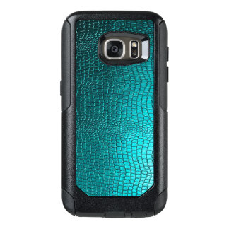 Elegant Turquoise Blue Snakeskin Texture Print OtterBox Samsung Galaxy S7 Case