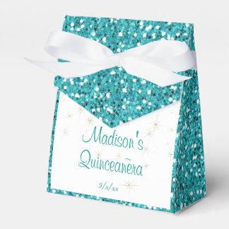 Elegant Turquoise , Faux Glitter, Quinceanera, Favour Box