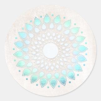 Elegant Turquoise Floral Lotus White Marble Round Sticker