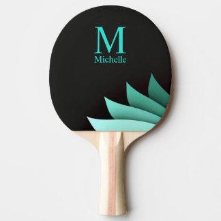Elegant Turquoise Floral Personalized Monogram Ping Pong Paddle