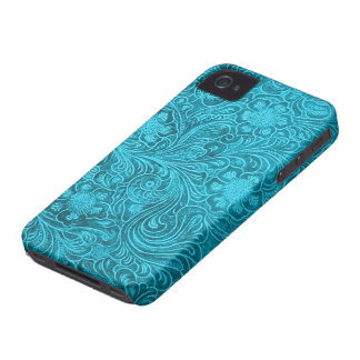 Elegant Turquoise Leather Look Embossed Flowers iPhone 4 Case-Mate Cases