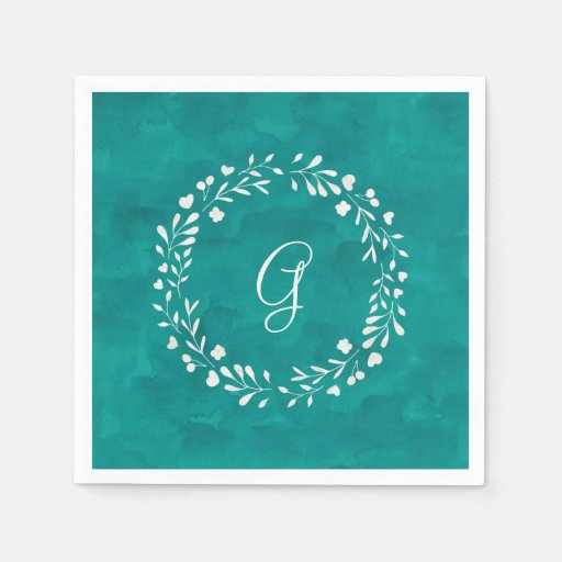 Elegant Turquoise | Monogram with Wreath Disposable Napkin