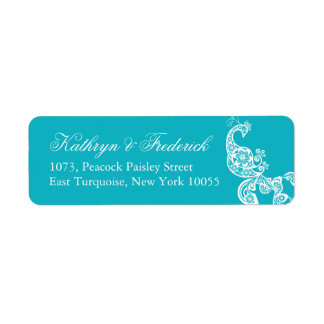 Elegant Turquoise Paisley Peacock Address Labels