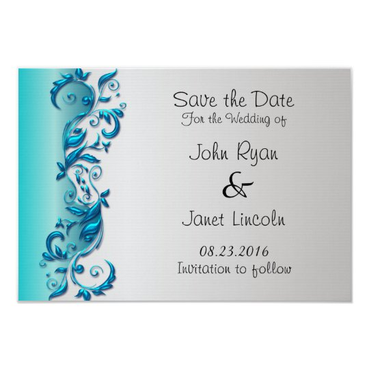 Elegant Turquoise & Silver Florid Wedding Design Card