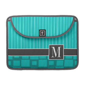 Elegant Turquoise Squares; Sleeve For MacBooks