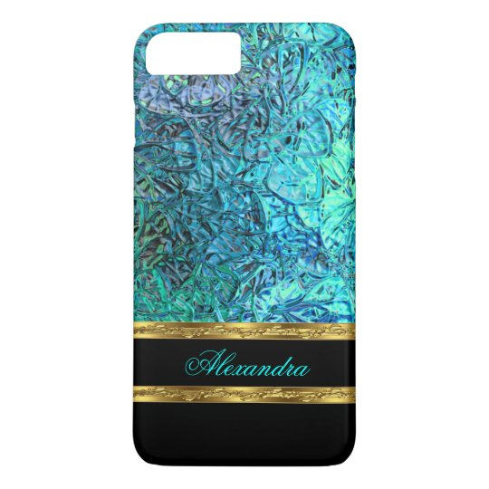 Elegant Turquoise Teal Blue Black and Gold iPhone