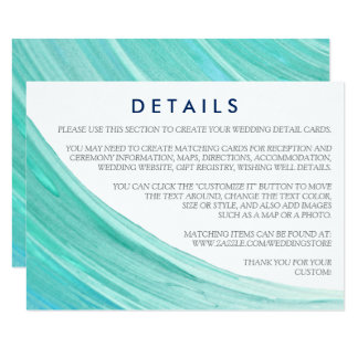 Elegant Turquoise Tides Beach Wedding Details Card