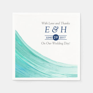 Elegant Turquoise Tides Beach Wedding Disposable Napkin