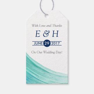 Elegant Turquoise Tides Beach Wedding Gift Tags