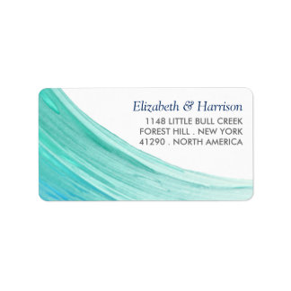 Elegant Turquoise Tides Beach Wedding Label