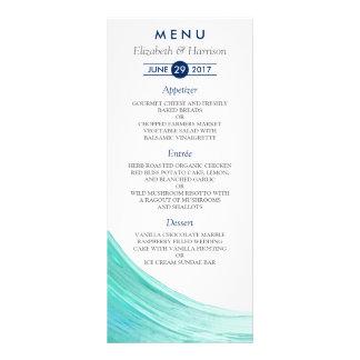 Elegant Turquoise Tides Beach Wedding Menu Cards