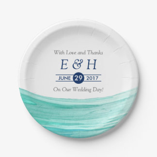 Elegant Turquoise Tides Beach Wedding Paper Plate