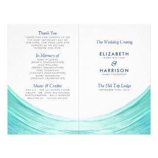Elegant Turquoise Tides Beach Wedding Program 21.5 Cm X 28 Cm Flyer