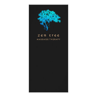 Elegant Turquoise Zen Tree Logo Black Custom Rack Card