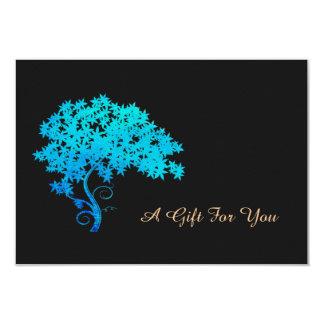 Elegant Turquoise Zen Tree Logo  Gift Certificate 9 Cm X 13 Cm Invitation Card