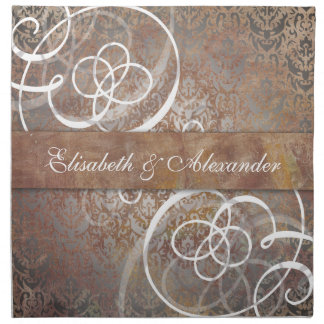 Elegant Tuscan Damask Wedding Table Napkin