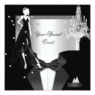 Elegant Tuxedo Gown Silver White Black Party 13 Cm X 13 Cm Square Invitation Card