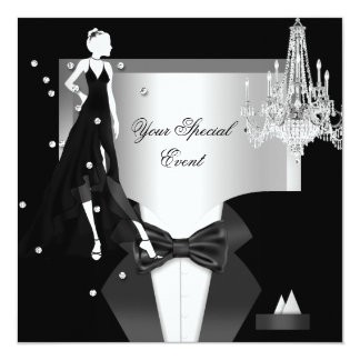 Elegant Tuxedo Gown Silver White Black Party Card