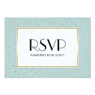 Elegant Twinkle Stars Pastel Mint Gold RSVP 9 Cm X 13 Cm Invitation Card