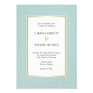 Elegant Twinkle Stars Pastel Mint Gold Wedding 13 Cm X 18 Cm Invitation Card