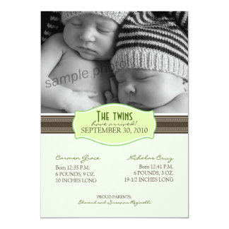 Elegant Twins Birth Announcement: Lime Green 13 Cm X 18 Cm Invitation Card