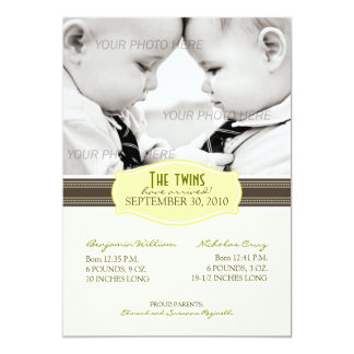 Elegant Twins Birth Announcement: Sunny Yellow 13 Cm X 18 Cm Invitation Card