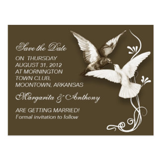 elegant two birds romantic save the date postcards