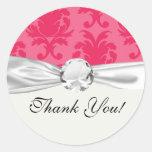 elegant two tone pink damask pattern round sticker
