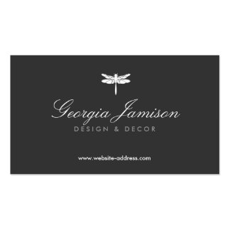 ELEGANT TYPE DRAGONFLY LOGO on DARK Business Card