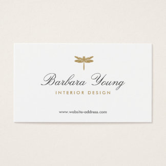 ELEGANT TYPE DRAGONFLY LOGO on WHITE Business Card