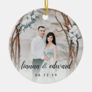 Elegant Type Personalized Wedding Photo Christmas Ornament