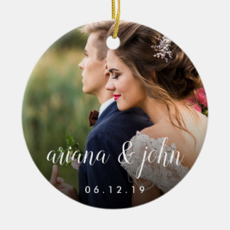 Elegant Type | Personalized Wedding Photo Christmas Ornament