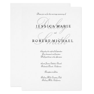 Elegant Typography Black & White Wedding Card