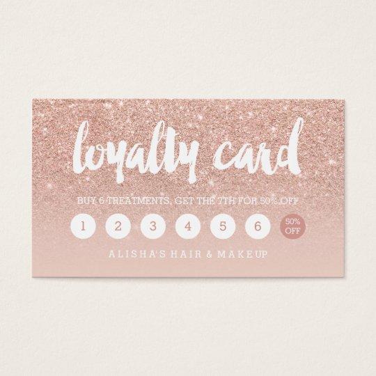 elegant typography blush rose gold loyalty card