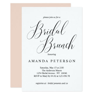 Elegant Typography Calligraphy Bridal Brunch Card