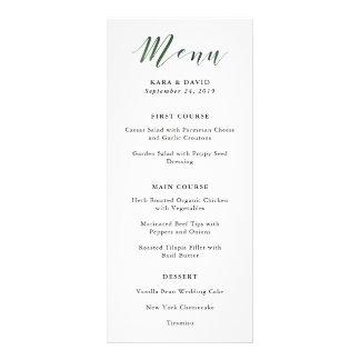 Elegant Typography | Deep Green Wedding Menu 10 Cm X 23 Cm Rack Card
