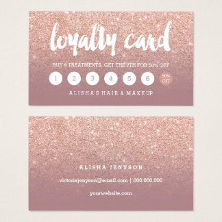 elegant typography dusty rose gold loyalty card