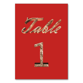 Elegant Typography Gold Table Card Number 1