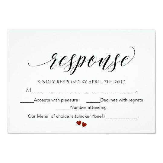 Elegant Typography Wedding Response Card Script RS