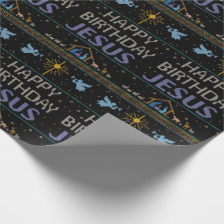 Elegant Ugly Christmas Sweater Religious Christian Wrapping Paper