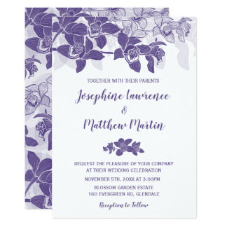 Elegant Ultra Violet Orchids Wedding Invitation