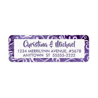 Elegant Ultra Violet Purple Watercolor Flourishes